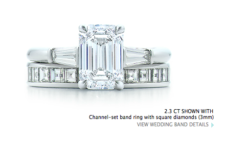 emerald cut engagement ring and square stone wedding band from Tiffany's. I die.
