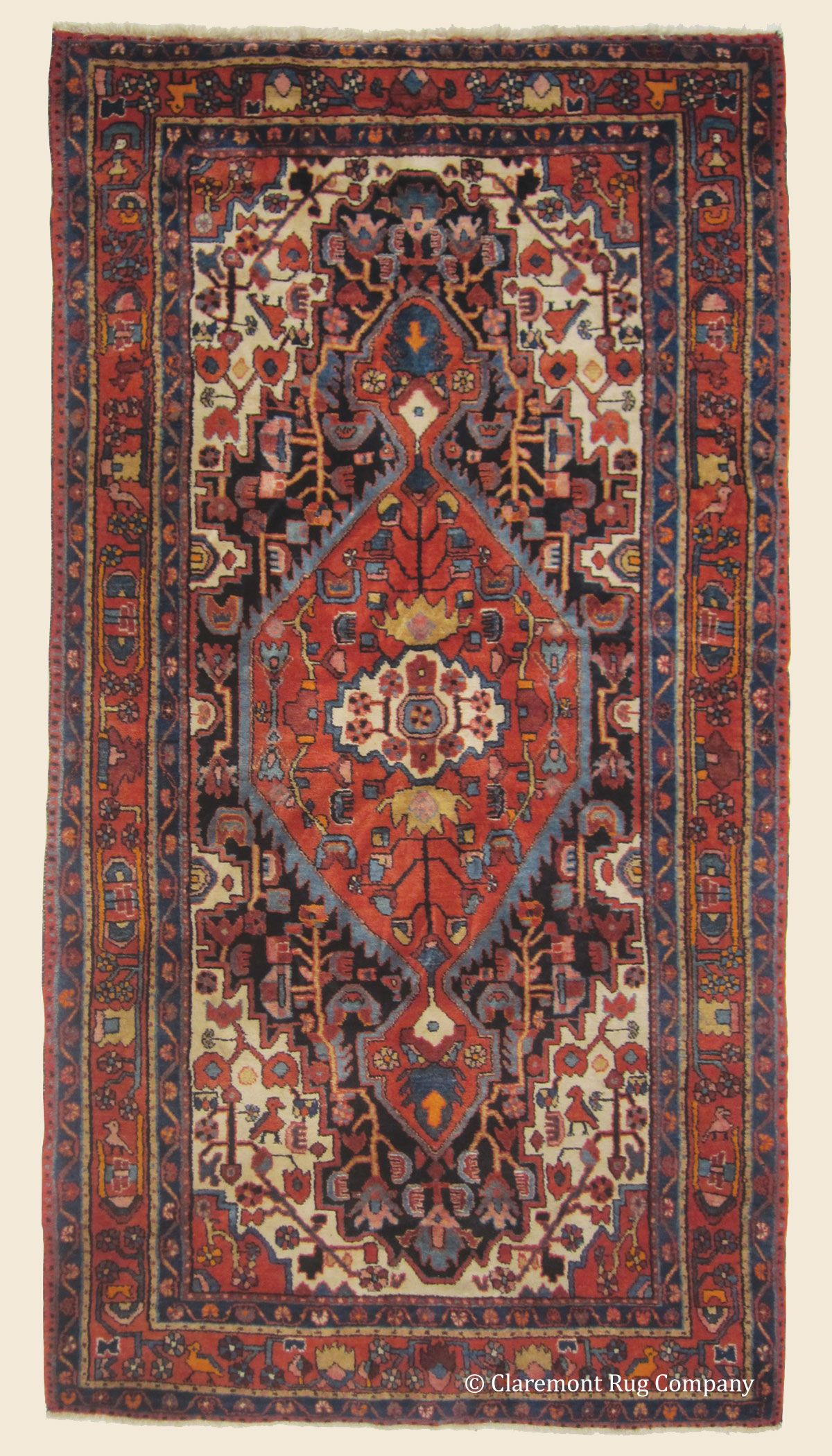 Bakhtiari 5 0 X 9 6 Circa 1950 Price 2 400 Central Persian Antique Rug Claremont Company
