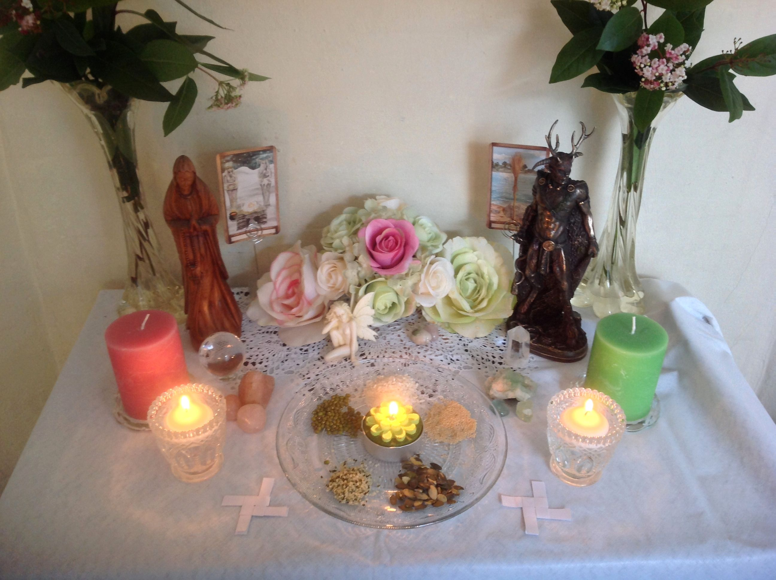 Imbolc Altar With Brigid Crosses Made Out Of Paper Altar