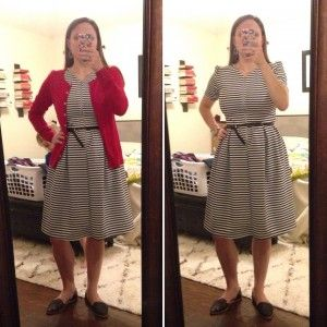 LulaRoe Amelia Dress with black belt and black loafers