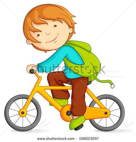 Editable Vector Illustration Of Boy Cycling Stock Vector