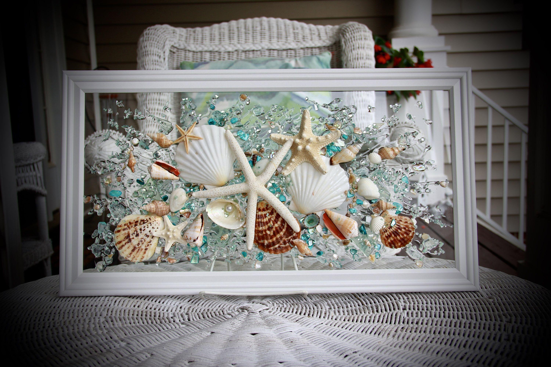 Seashell Wall Art For Nautical Bathroom Beach Home Decor Wall Etsy In 2020 Seashell Wall Art Nautical Bathrooms Sea Glass Art