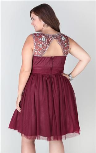 Plus Size Short Homecoming Dress With Stone Trim Keyhole Back