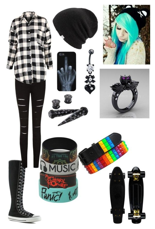Emo girl skater girl by samantha-kidwell on Polyvore featuring polyvore fashion style Converse ...