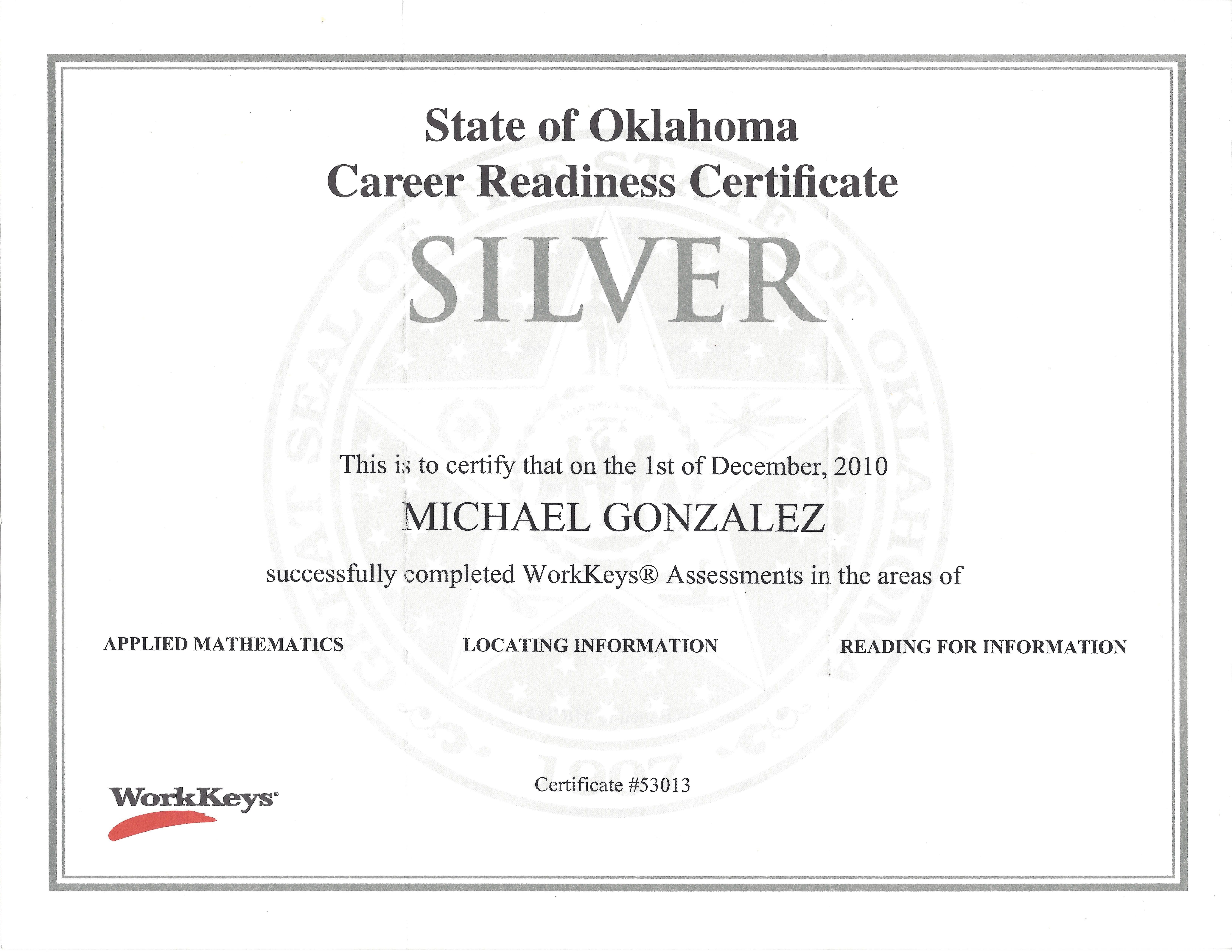 certificate readiness career oklahoma skills related workkeys uploaded user employers identify designed help reading act assessment