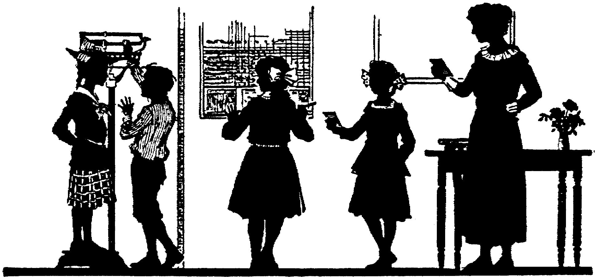 Silhouette children teacher classroom