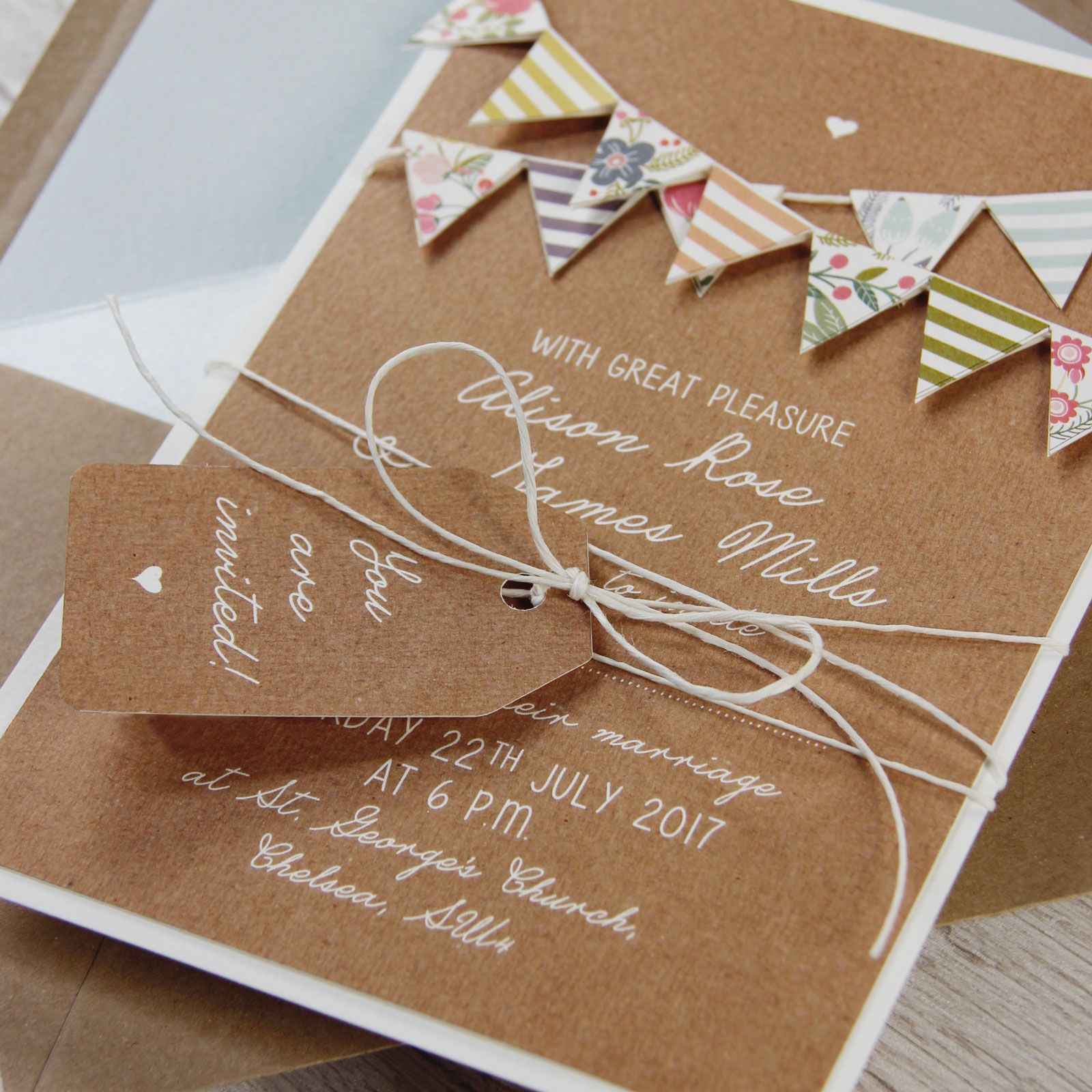 Hand Made Summer Rustic 3D Bunting Wedding Day Invitation ...