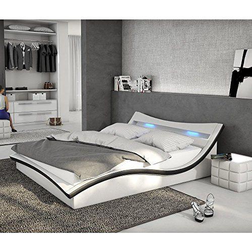 Polster Bett 180x200 Cm Weiß Schwarz Aus Kunstleder Mit LED Beleuchtung |  Magari