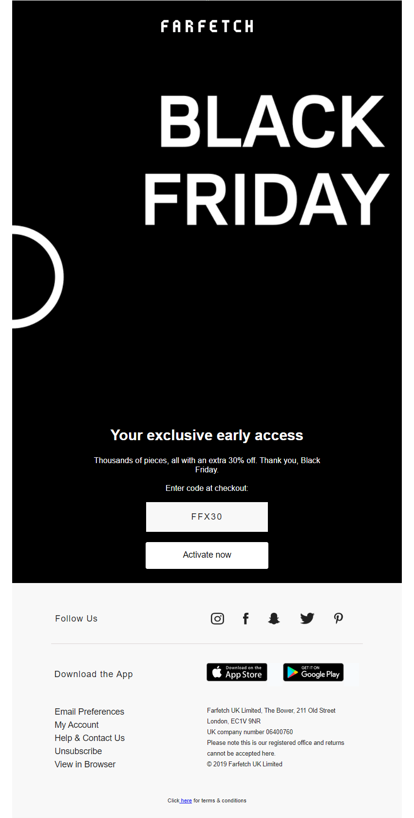 Black Friday early access email from Farfetch