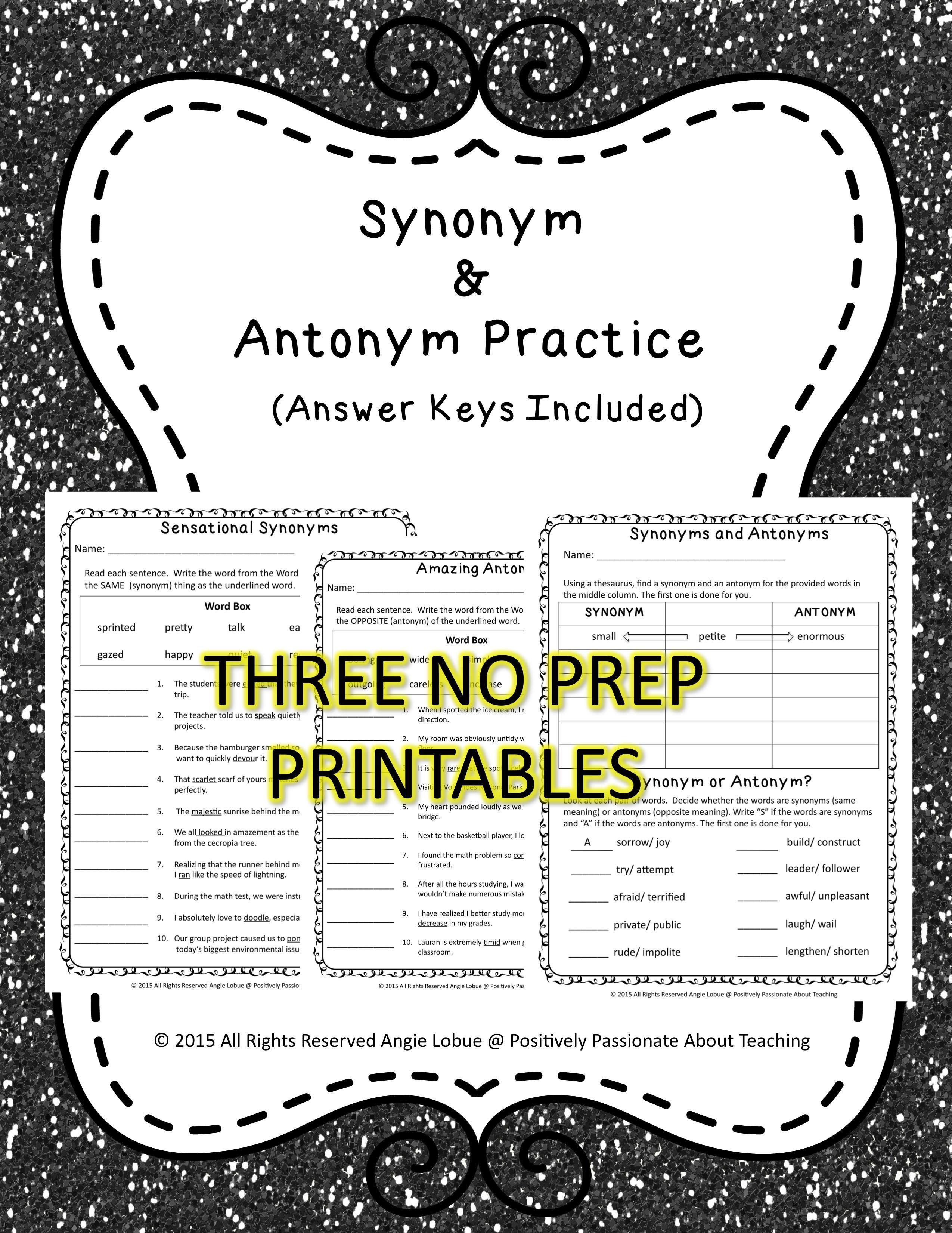 Synonym Amp Antonym Practice 3 No Prep Printables With