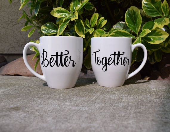 Items similar to Better Together // Couples Coffee Mug Set // Calligraphy mugs // Cute Unique Couples Gift // Valentines Day Gift on Etsy #mugsset