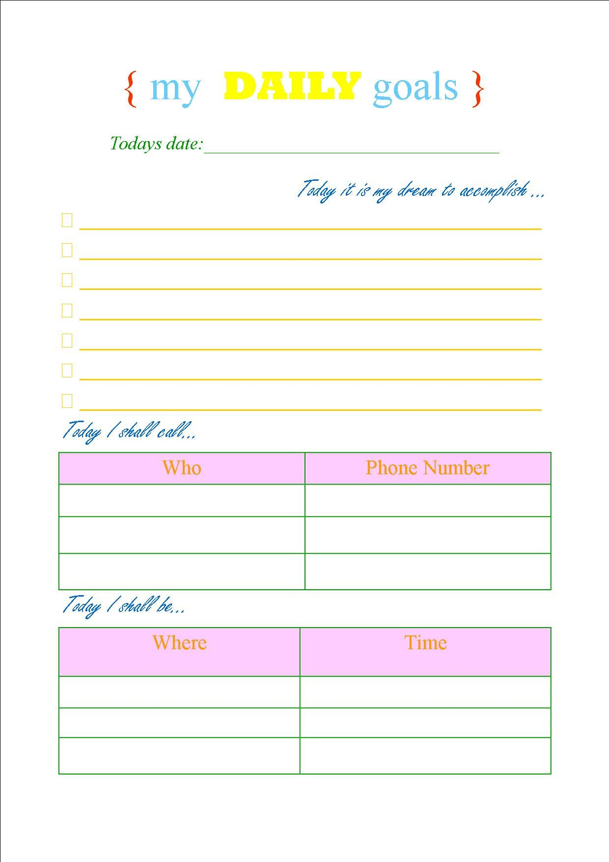 My New Daily Goal Sheet I Made Life Saver