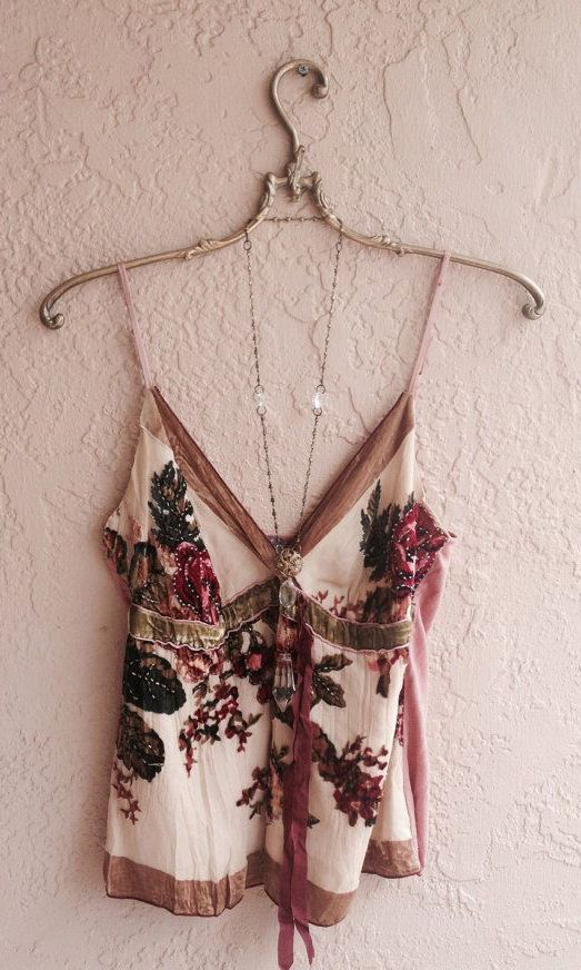 Romantic Great Gatsby Silk Beaded camisole with velvet roses and nude blush silk…