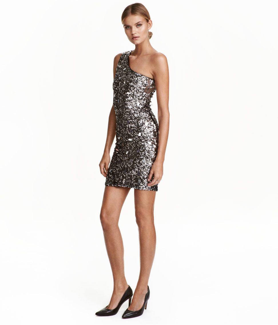 One-Shoulder-Kleid | Schwarz/Silberfarben | Damen | H&M DE ...