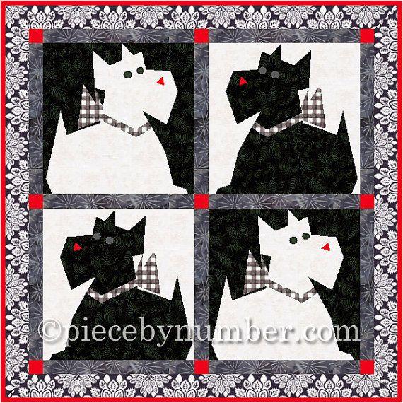 Scottie Dog Quilt Block Pattern Paper Pieced Quilt