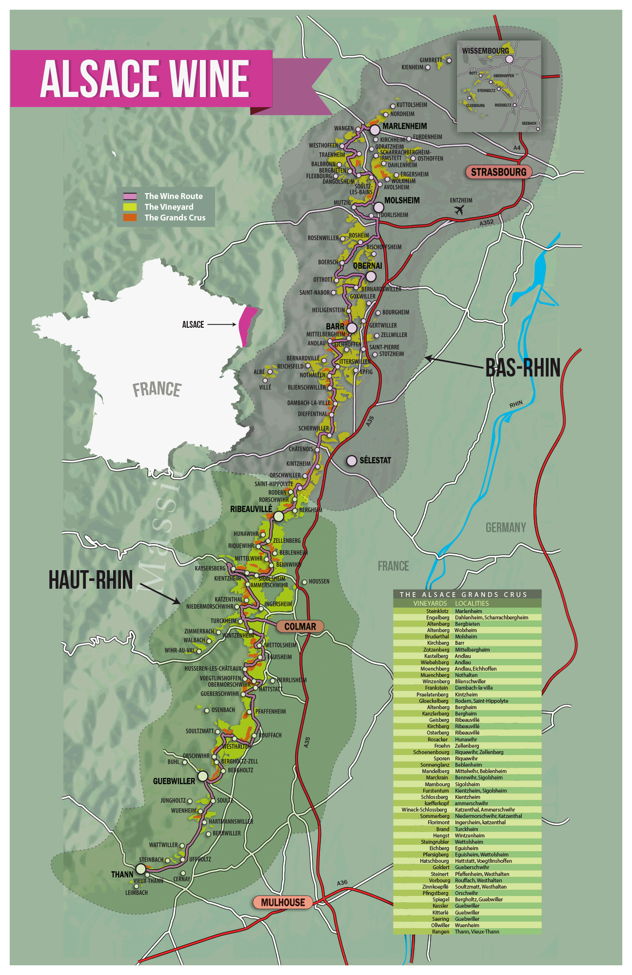 Alsace Wine Region A Guide For Enthusiasts Alsace Wine And France - Germany vineyards map