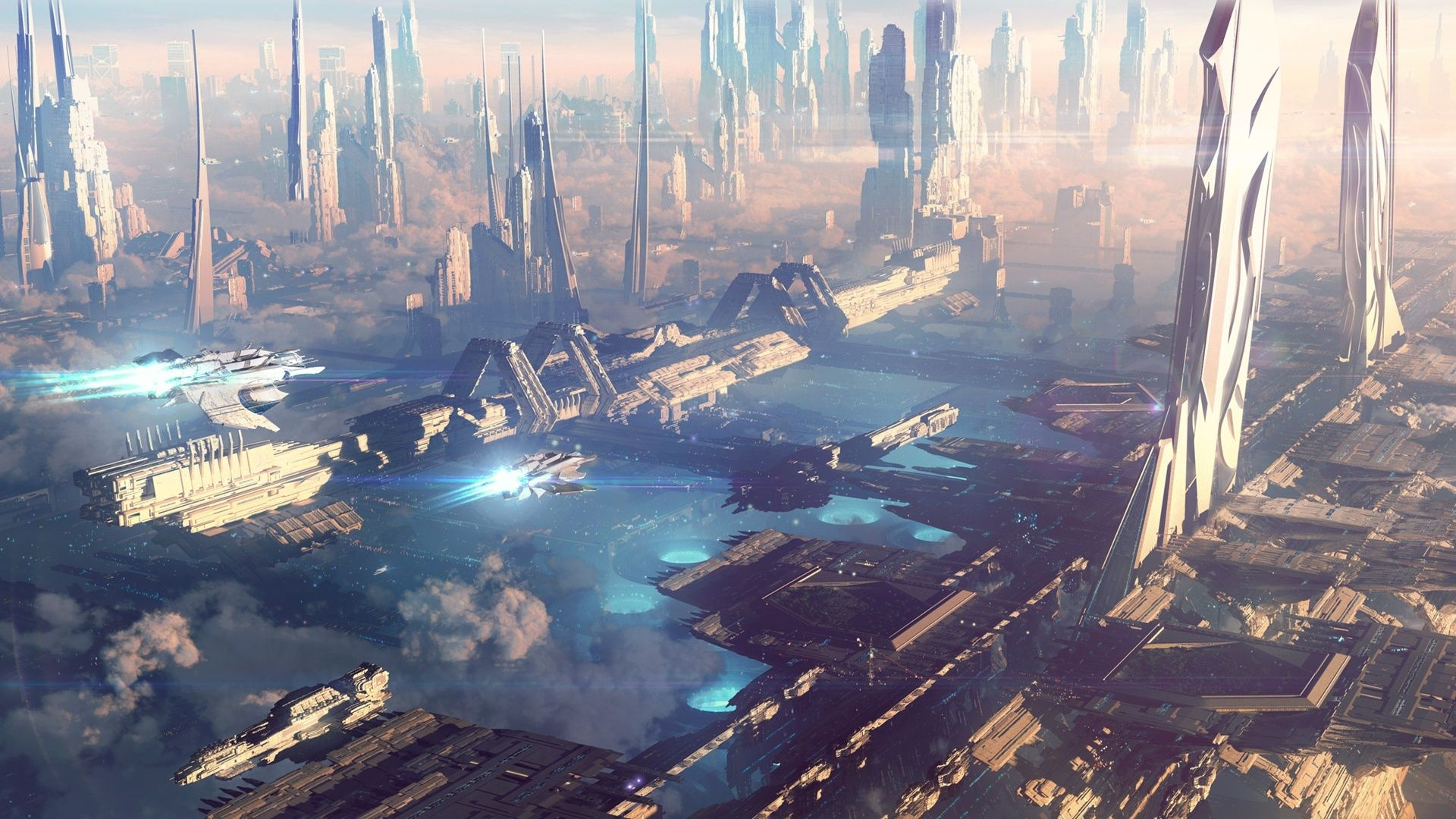 Awesome Future City Concept 1920x1080 Futuristic City Fantasy City Fantasy Landscape