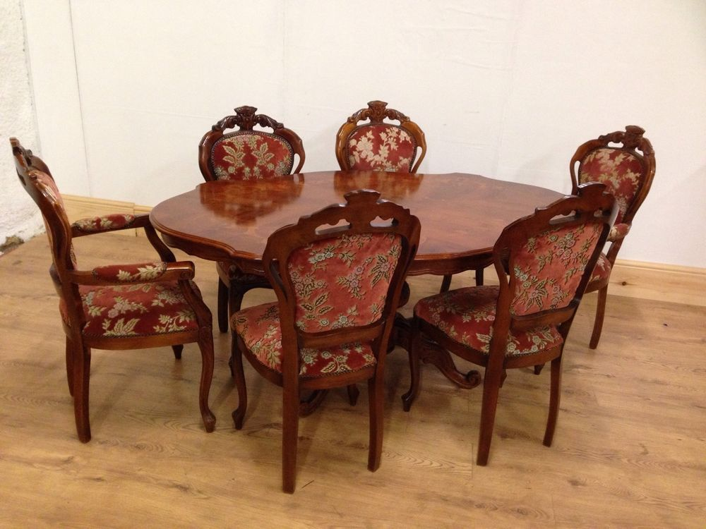 Italian Inlaid Dining Table And 6 Chairs Includes 2 Carvers