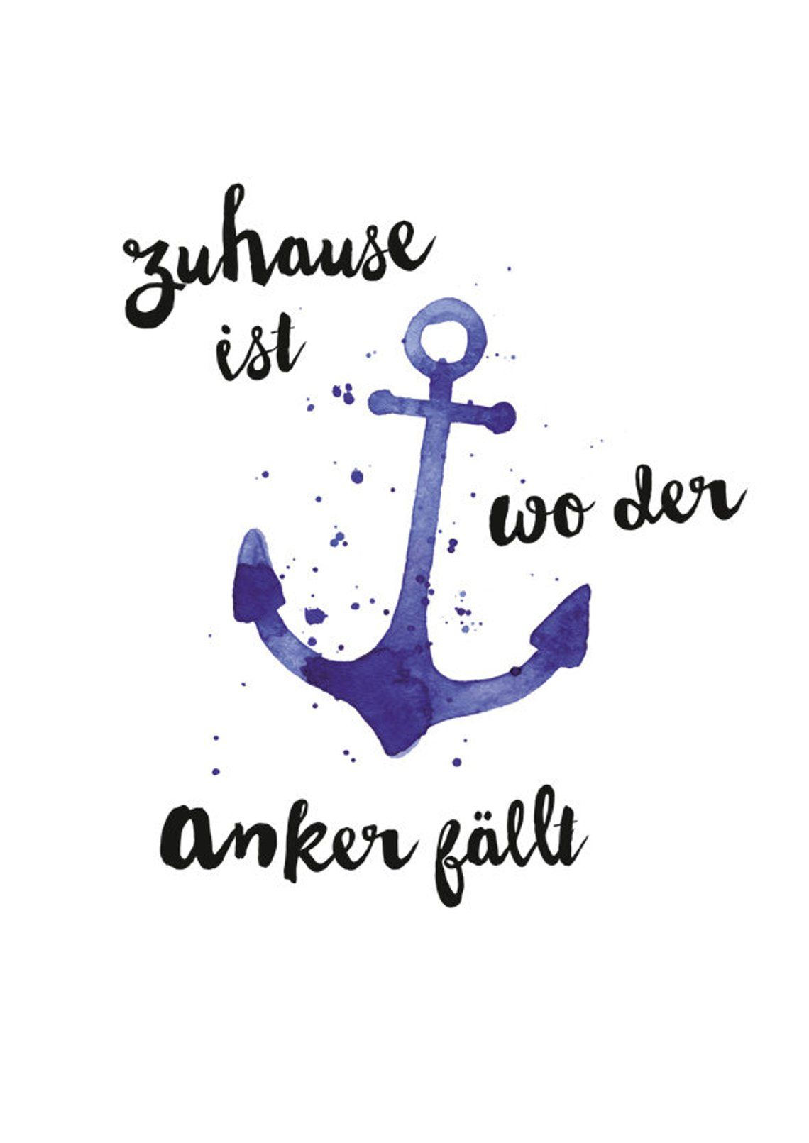 "A4 Print ""Home is where the anchor falls"""