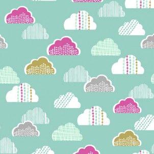 Dashwood Studios - Petite Street Clouds Teal - cotton fabric