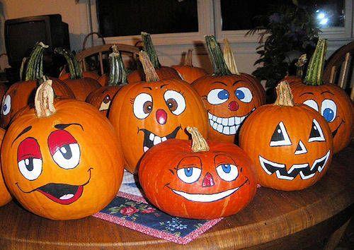 Fun Pumpkin Faces Autumn Displays Pinterest - halloween pumpkin painting ideas