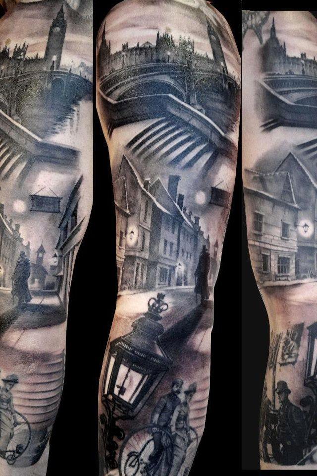 a6cde115f05 Awesome London scenery sleeve tattoo.