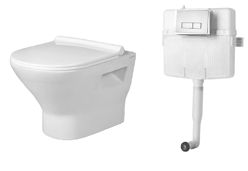 Belmonte Combo Of Rimfree Rimless Wall Mounted Wall Hung Western Toilet Commode Ewc Sanitee With Soft Close Sli In 2020 Concealed Cistern Western Toilet Toilet Commode