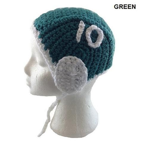 Green - H2OTOGS Customised - Water Polo Crocheted / Knitted Babies Cap - Green Side