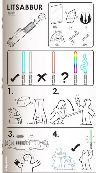 Star Wars Lightsaber ala IKEA instructions Funny Pinterest - schlafzimmer helsinki malta