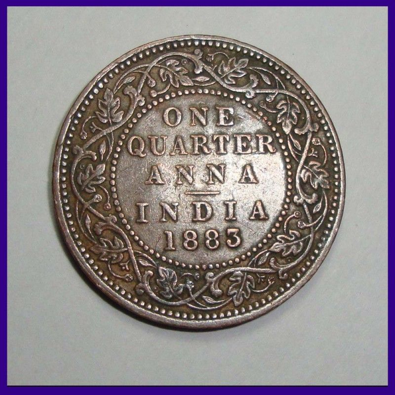 1883 One Quarter Anna Victoria Queen British India Coin Coins Silver Coins Sell Old Coins