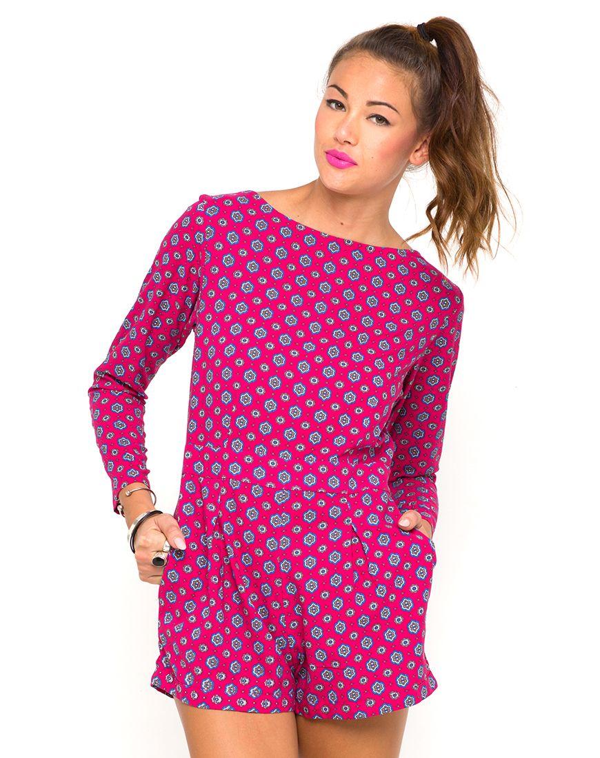 Motel Molly Long Sleeve Playsuit in Windsor Raspberry , TopShop ...