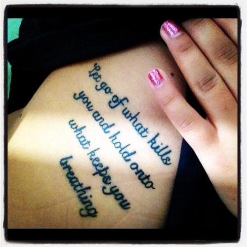 Girl With Tattoo Quote Tattoos