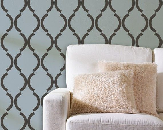 Wall Stencil Art large graphic wall stencil art deco design - trellis pattern