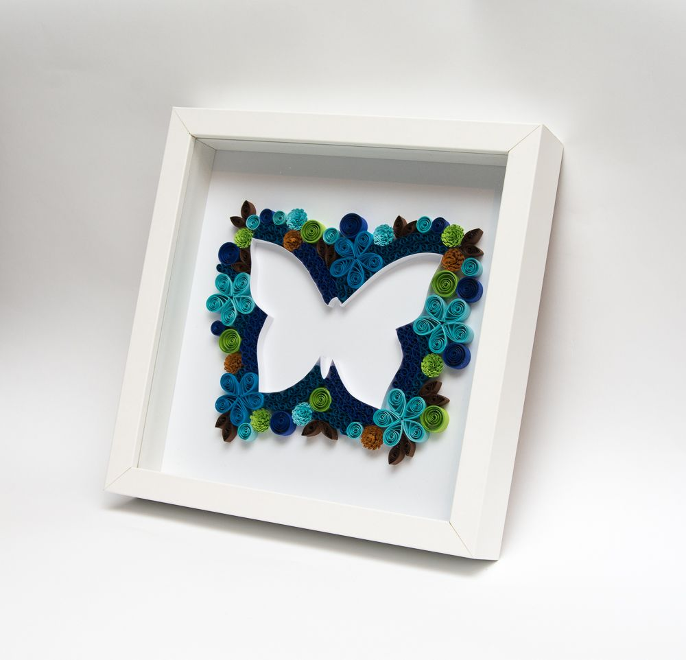 Unique Framed Wall Art Quilling Quilled Butterfly Blue