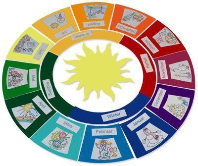 Jahreskreis mit Jahreszeiten Tonpapier Bastelset Kinder Lernspiel - ab 7 Jahren | MATCHES21 ®#bastelset #jahren #jahreskreis #jahreszeiten #kinder #lernspiel #matches21 #mit #tonpapier