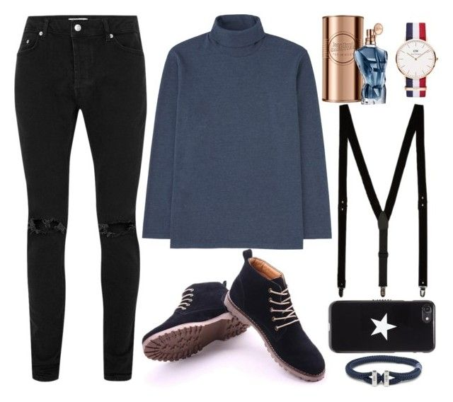 """""""Black & Blue"""" by lucy-wolf ❤ liked on Polyvore featuring Uniqlo, Topman, John Lewis, Daniel Wellington, Givenchy, men's fashion and menswear"""
