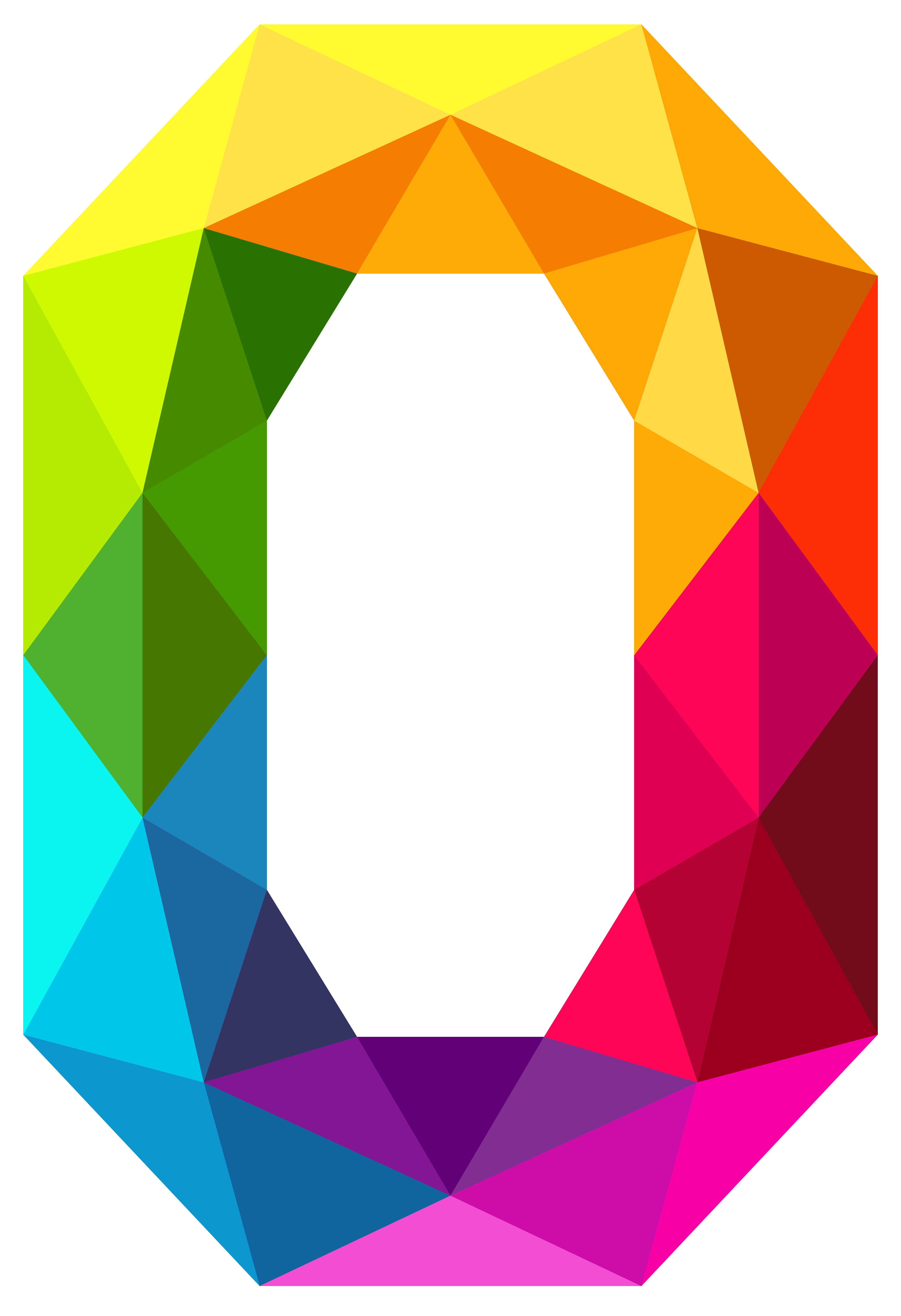 Colourful Triangles Number Zero Clipart Image