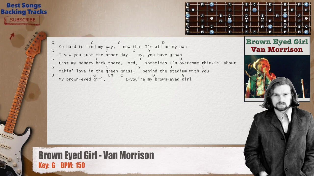 Brown Eyed Girl Van Morrison Main Guitar Backing Track With Chords