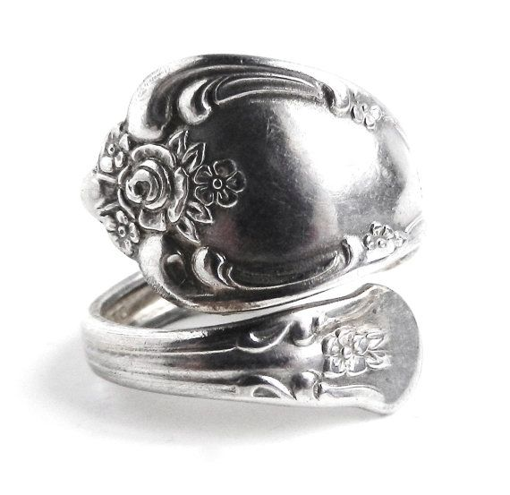 Wholesale Lot  4 Silver Plated Floral Spoon Rings Sizes 5,6,7,8,9,10 Adjustable