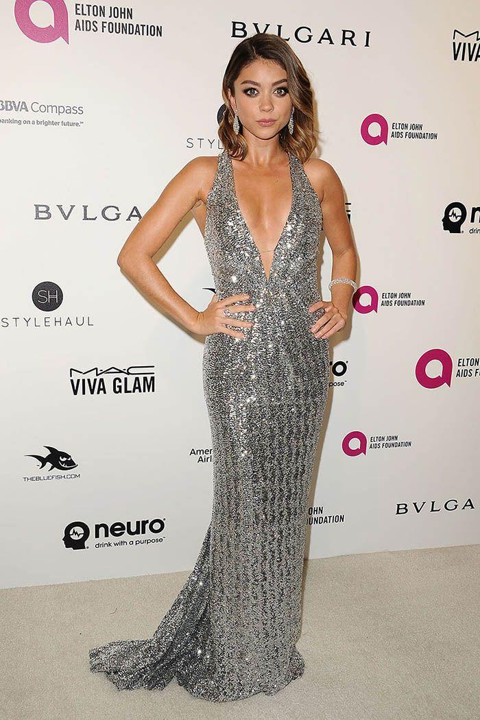 Sarah Hyland Silver Sequin Celebrity Sparkly Prom Dress Oscars 2016 Red  Carpet d3c3c7550654