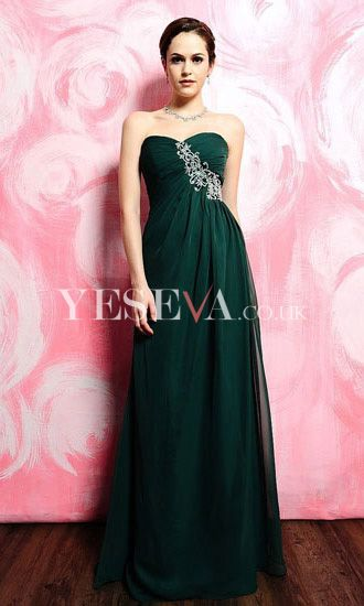 A-line Sweetheart Empire Sleeveless Floor-Length Long Evening Prom Dresses UK with Embroidery P12Y10AU0473