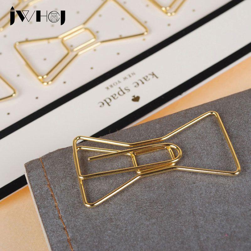 2 Teile Los Goldene Bowknot Form Buroklammer Material Escolar