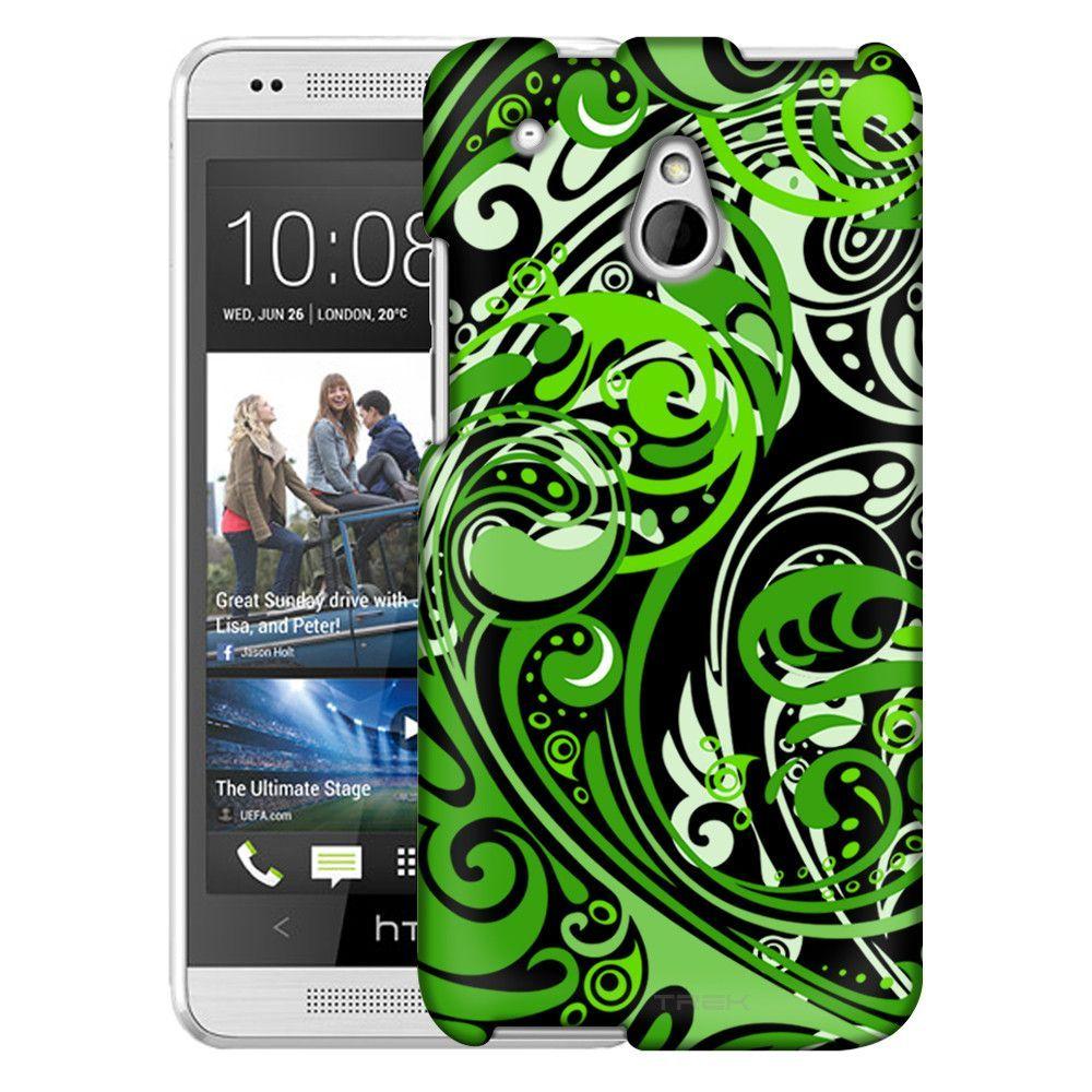 HTC One Mini Abstract Swirled Sades of Green on Black Slim Case