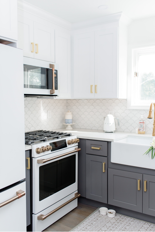 My White Gold Kitchen With Cafe Appliances In 2020 Kitchen Renovation Coastal Inspired Kitchens Coastal Kitchen
