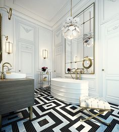 So many things I love about this! Love the walls, tub shape, and floor design! Beautiful.