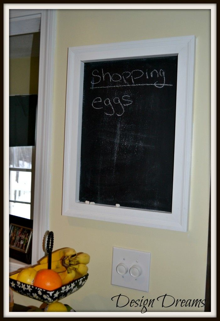 Chalkboard paint right onto to wall and then frame it in with ...