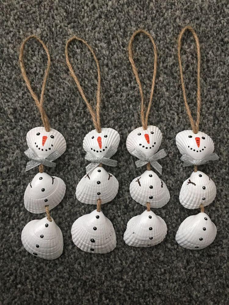 Set Of 4 Nautical Sea Shell Snowmen Christmas Tree Ornaments - Set Of 4 Nautical Sea Shell Snowmen Christmas Tree Ornaments