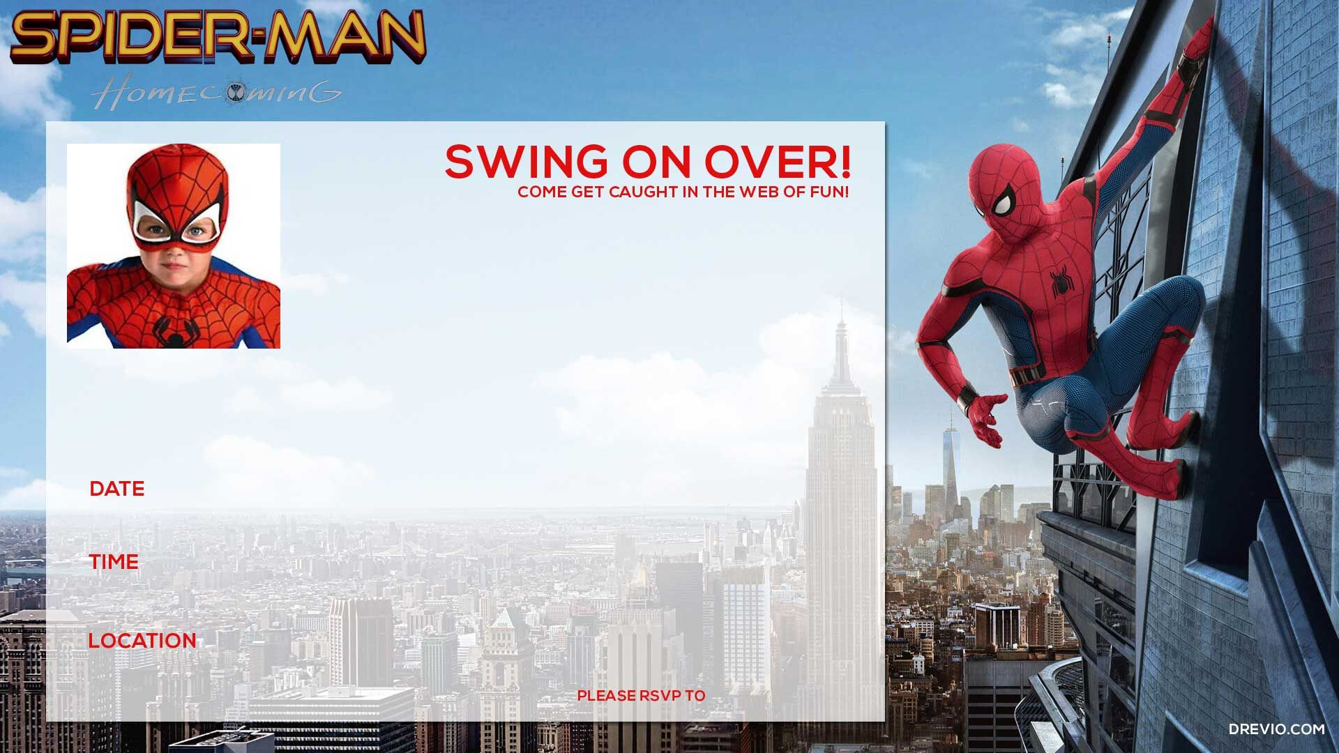 graphic regarding Printable Spiderman Invitations known as Spiderman invitation templates cost-free