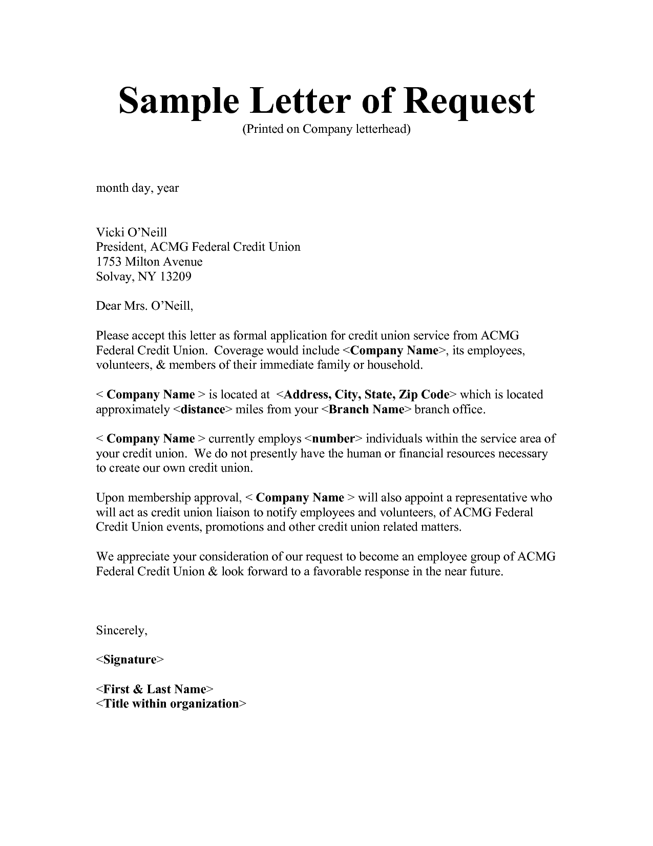 business letter response to request for information