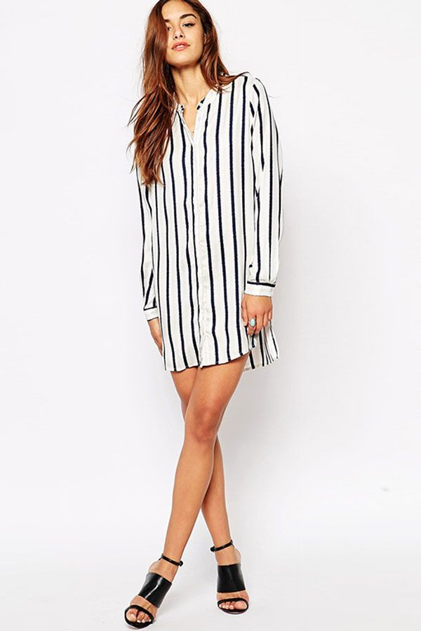 36b19f81fcf Black White Vertical Stripes Long Sleeves Casual Dress  Black  Dress   maykool